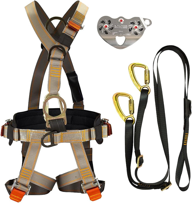 Fusion Climb FKAHLT22 Pro Backyard Zip Line Kit Harness Lanyard Trolley Bundle Black
