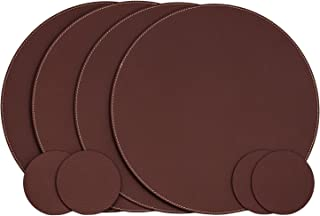 Nikalaz Set of Round Dark Burgundy Placemats and Coasters, 4 Table Mats and 4 Coasters, Place Mats 12.99 inches, Recycled Leather, Dining Table Set (Dark Burgundy)