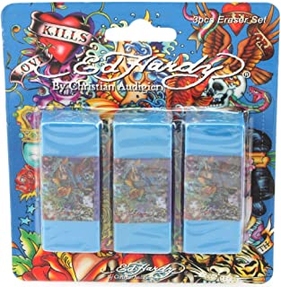 Ed Hardy 3 Pack Kids School Teacher Supplies Stationary Rubber Pencil Erasers Pack Set - Esme All Over Print Blue