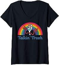 Womens Disney Pixar Toy Story 4 Forky Talkin' Trash Rainbow Poster V-Neck T-Shirt