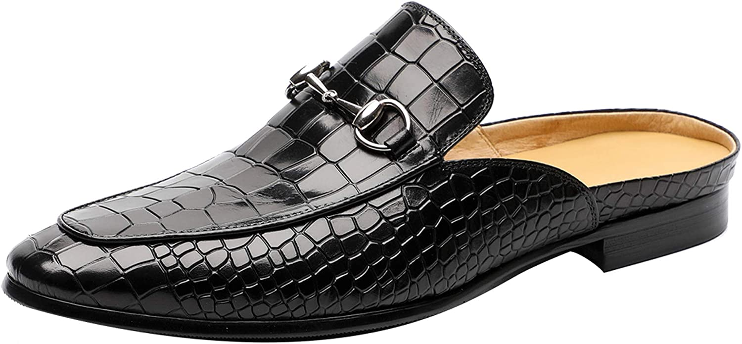 Santimon Mens Mules Clog Slippers Leather Slip on Shoes Casual Loafers Metal Buckle Office Slippers