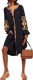 Womens Autumn Long Sleeve Embroidery Oversized Single Breasted Button Up Dresses with Pockets
