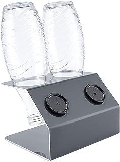 SodaNature™ | 2er bis 4er Design Flaschenhalter Timeless z.B. für SodaStream Crystal Glasflaschen | Hochwertiger Abtropfhalter Made in Germany | Edelstahl, Anthrazit, Weiß 2er Anthrazit Aluminium