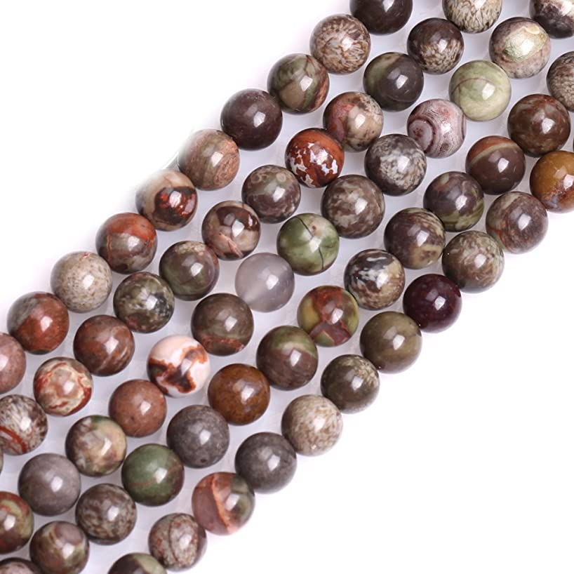 GEM-inside 6mm Natural Brown Rainfrest Agate Stone Gemstone Semi Precious Round Spacer Beads for Jewelry Making 15