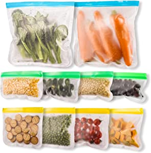 ReusableFreezer Bags, 10Pcs Food Storage Bags BPA Free Extra Thick Leakproof Reusable Snack Bagswith Double Zipper & Sealfor Meat (2Gallon Bags + 4 Sandwich Bags + 4Snack Bags)