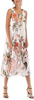 Muzboo Falda de playa sin mangas floral vestido casual sin mangas vestido caftan/cubrir