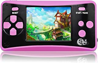 QoolPart Handheld Games for Kids Adults 2.5'' Color Screen Preloaded 182 Classic Retro Video Games No WiFi Needed Seniors Electronic Game Player Birthday Xmas Present (Rose Red)