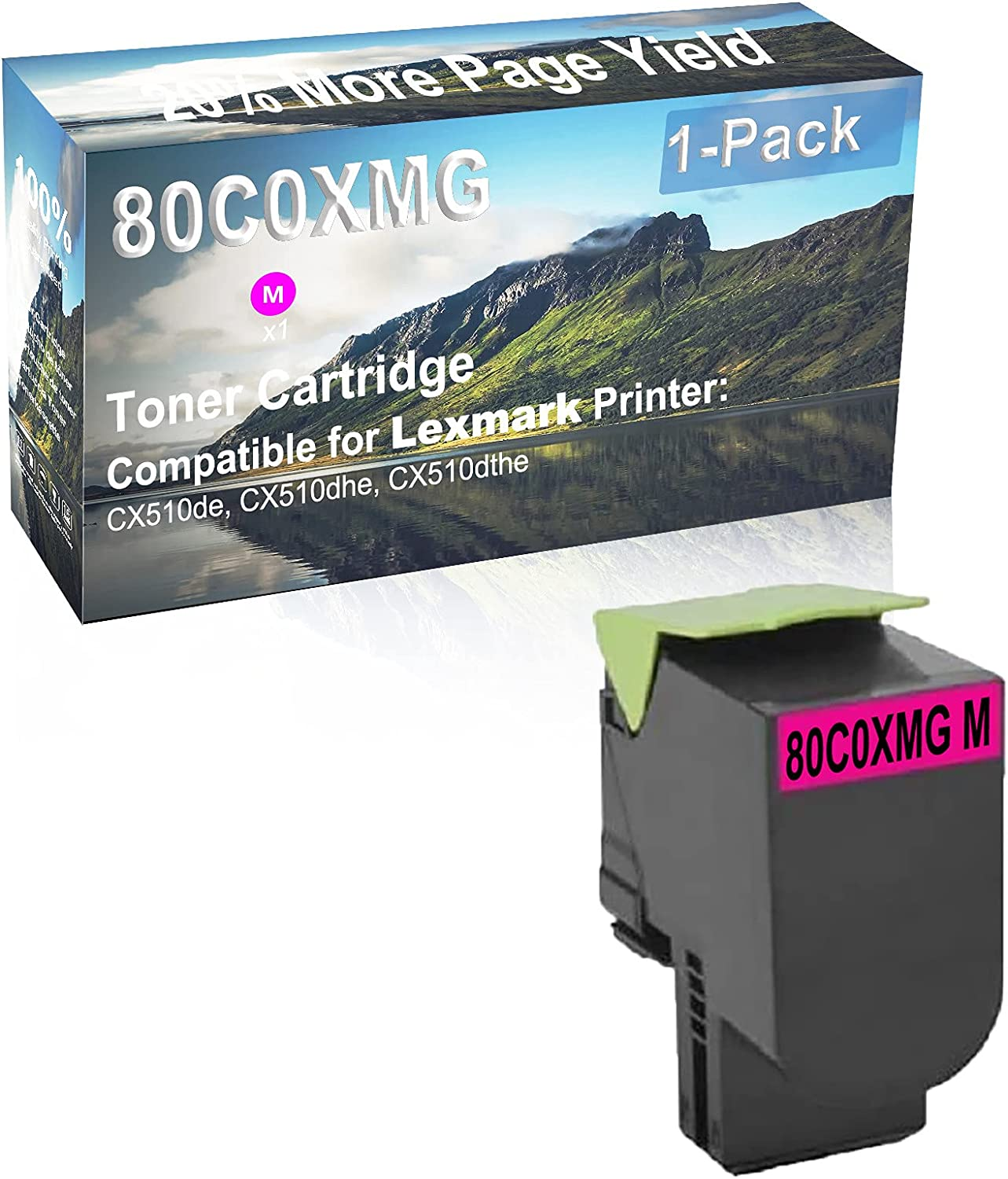 1-Pack (Magenta) Compatible High Capacity 80C0XMG Toner Cartridge Used for Lexmark CX510de, CX510dhe, CX510dthe Printer