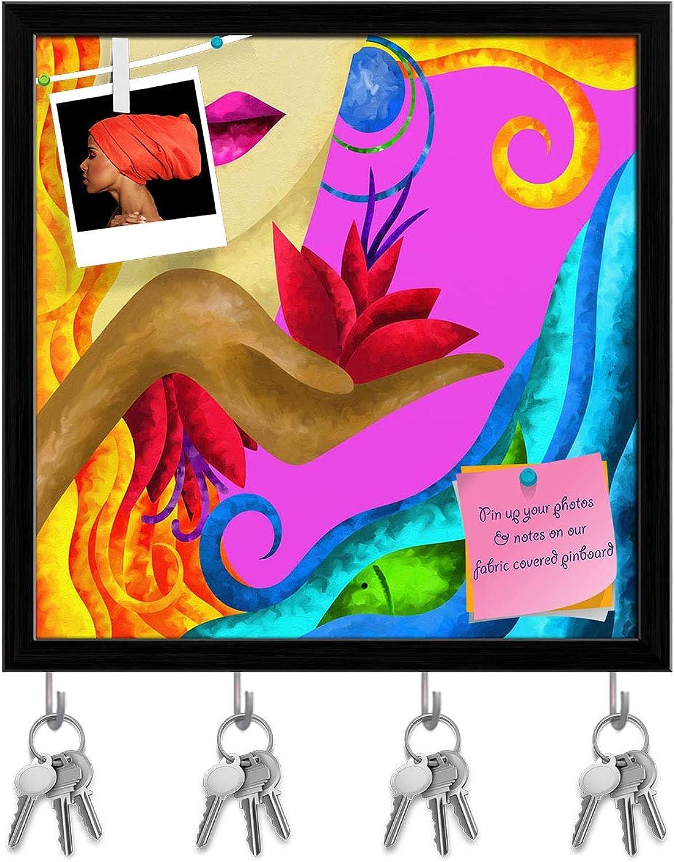 Artzfolio Face of Blond Woman Key Holder Hooks   Notice Pin Board   Black Frame 20 X 20Inch