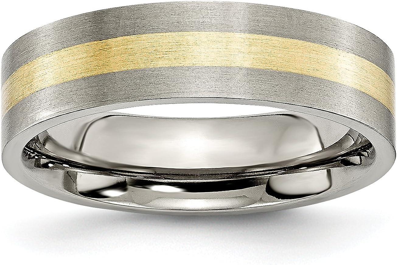 Mens 6mm Brushed Titanium and 14k Yellow Inlay Flat Edge Wedding Band Ring