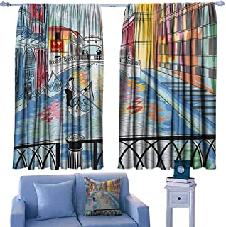 Mannwarehouse Venice Polyester Curtain Colorful Sketch of a Landscape The Bridge of Sighs in Venice Artistic Romantic Scene for Living, Dining, Bedroom (Pair) 63