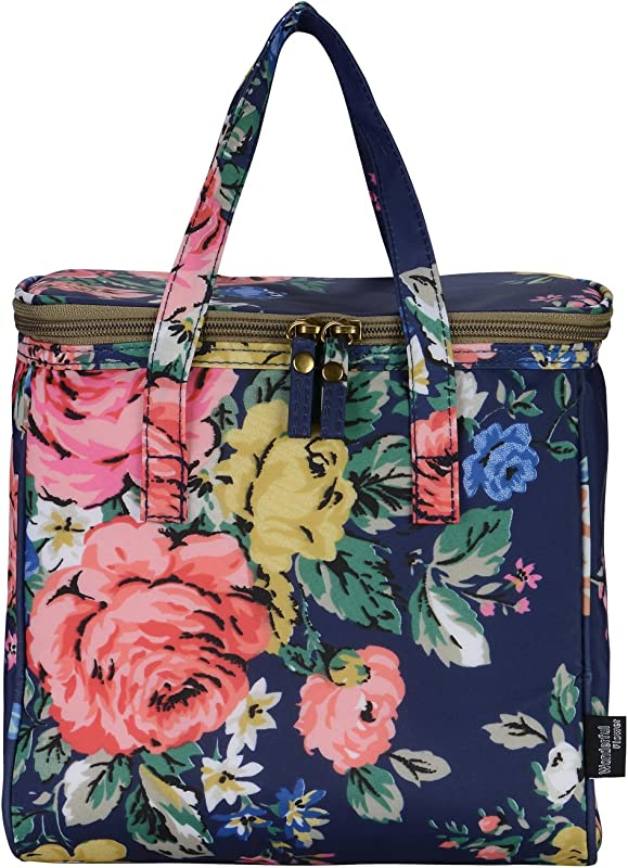WONDERFUL FLOWER Medium Lunch Bags For Women Insulated Picnic Bag Lunch Box Bag 21NavyCoral
