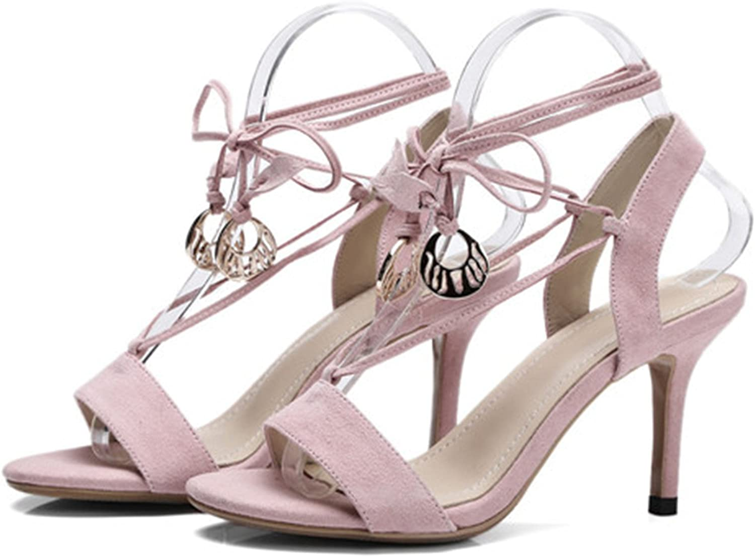 Ivan Johns Ankle Strap Lace-Up Sexy Thin High Heel Summer Sandals Green Black Pink Plus Size 34-42 G02D