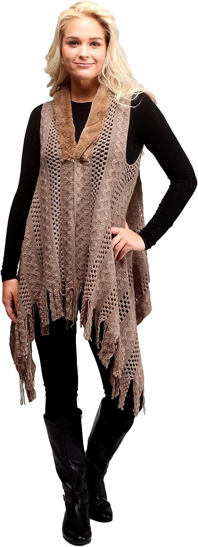 Faux Fur Trim Crochet Sweater Vest Shrug with Fringe for Women