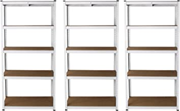 3 x E-Rax Stellingkasten - 90x40x180 cm - Wit - 100% Boutloos - Draagkracht: 200 kg per plank - opbergrek metaal