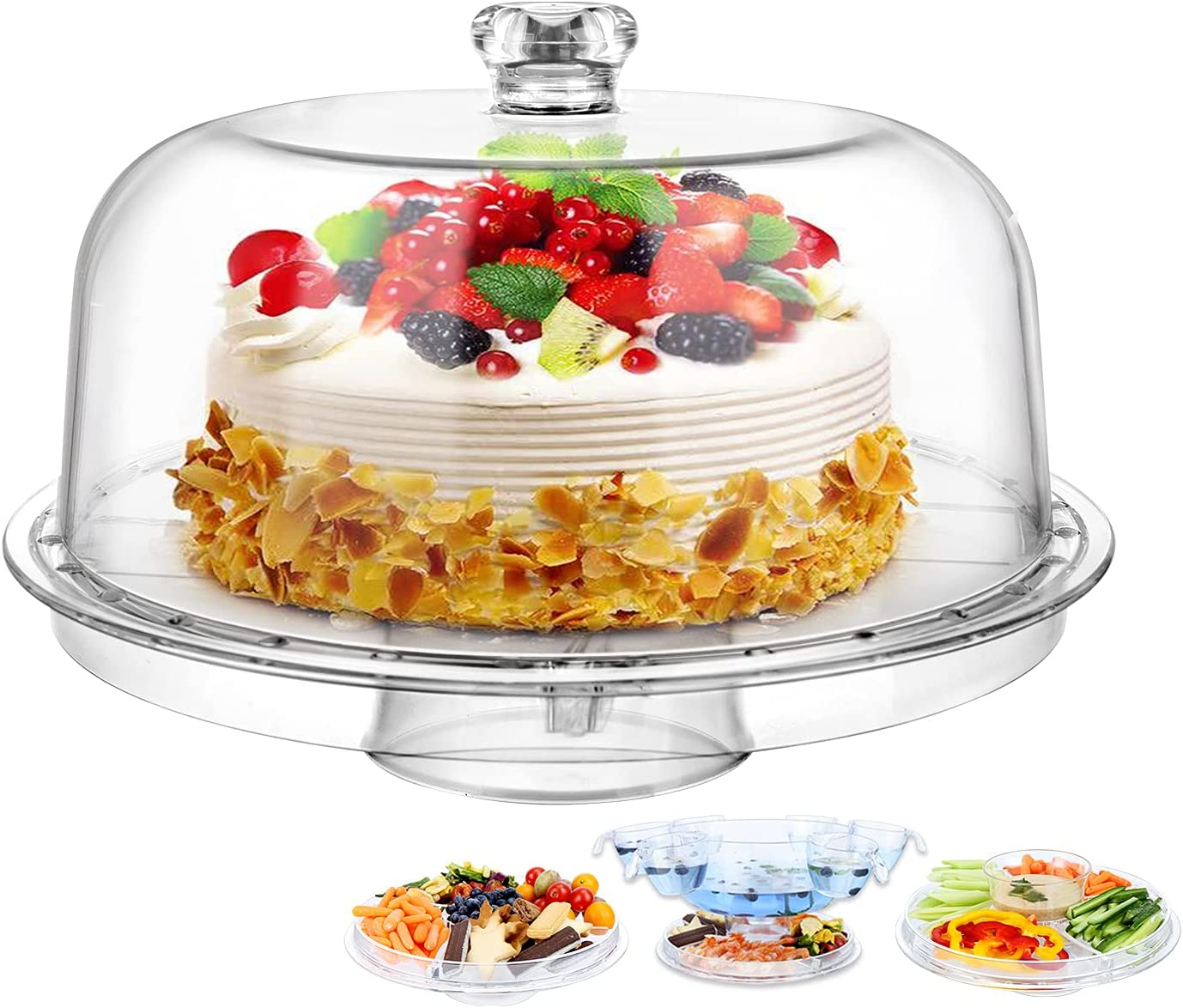 """Cake Stand with Lid for Birthday Party Gift for Mother's Day Clear 8-in-1 Acrylic Cake Plate with 12"""" Dome & 6 Cups Dipping Bowls Multi-Function Serving Platter, Salad & Punch Bowl"""