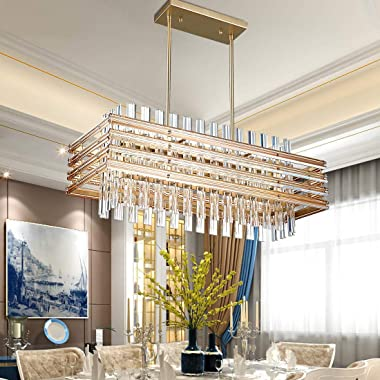 """TZOE Modern Rectangle Chandelier Crystal Chandeliers for Dining Rooms L29.1"""" x W11.4"""" x H48.5"""",6 Light Adjustable"""