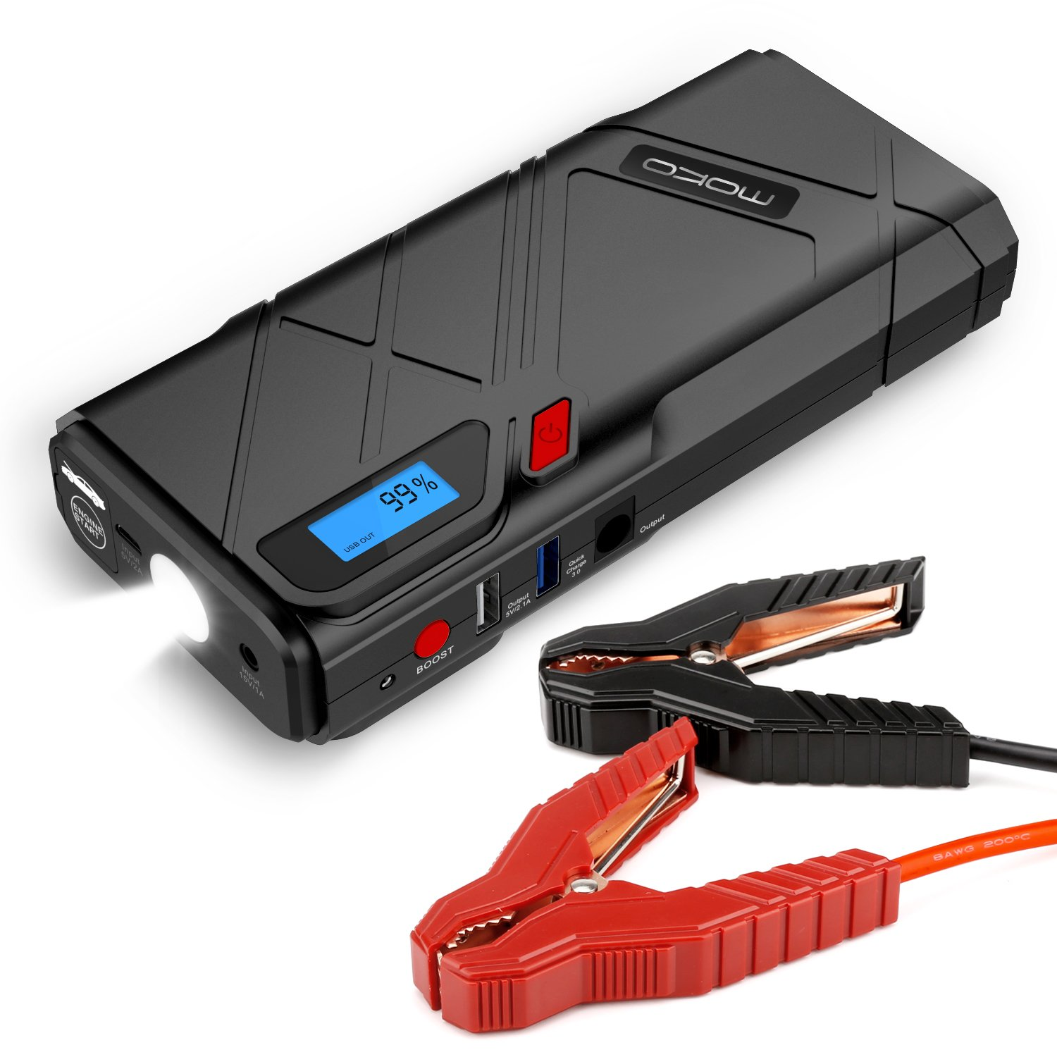 MoKo 1200A Peak Car Jump Starter, 12000mAh Portable Power Bank Battery Booster (Up to 6.5L Gas, 3.5L Diesel Engine), with 2 USB Ports, Car Charger, Emergency LED Flashlight (Yellow): Amazon.es: Electrónica