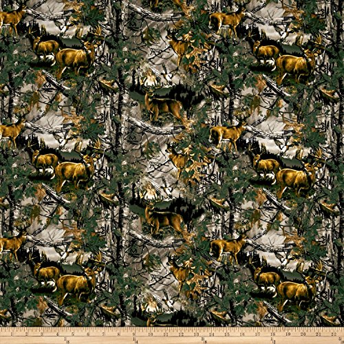 Realtree Deer Country Flannel Allover Fabric by The Yard