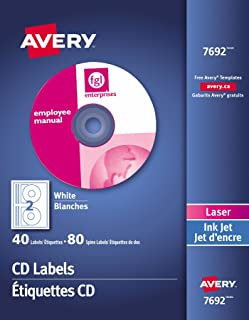 Avery CD Labels for Laser & Ink Jet Printers, White, Round, 40 Disc Labels and 80 Spine Labels, Permanent (7962) Made in C...