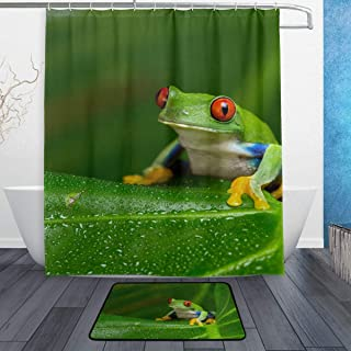 COOSUN Red-Eyed Amazon Tree Frog Bathroom Set, Polyester Fabric Shower Curtain (60X72 Inch) with Bath Mats Rugs(15.7 X 23....