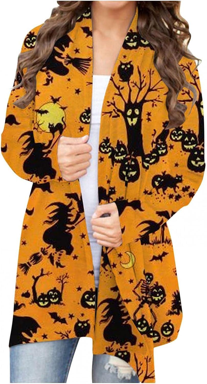 AODONG Halloween Cardigan for Women,Womens Graphic Tops Pumpkin Print Long Sleeve Open Front Lightweight Cardigans Coat