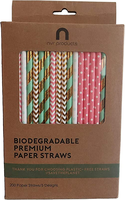 Biodegradable Paper Straws 200 Pack By NVR Products 5 Different Drinking Straw Designs 40 Pieces Each Bulk Party Paper Straws Are Pastel Colored