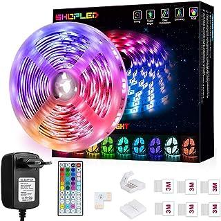 LED Strip 5m, SHOPLED Farbwechselnde LED Streifen mit IR Remote, RGB 5050 Farbänderung Flexible LED Leiste für Schlafzimme...