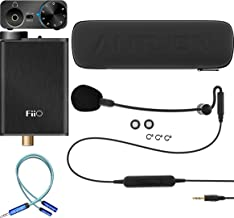 Antlion Audio ModMic Uni with Mute Switch Bundle with FiiO E10K Black USB DAC and Headphone Amplifier, and Blucoil Y Splitter for Audio, Mic