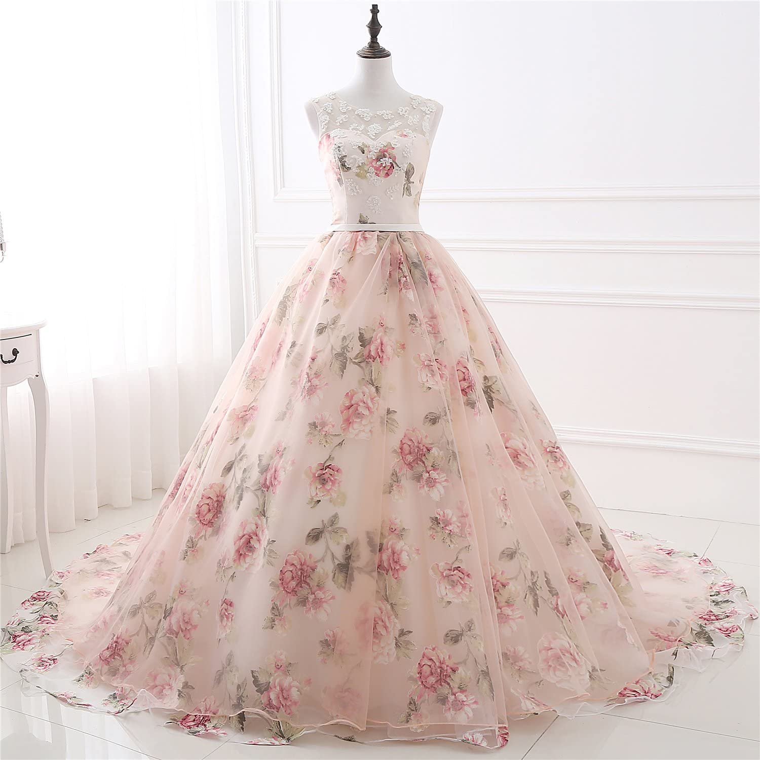 A Ling Long Evening Dress Women Floral Printed Formal Prom Dress