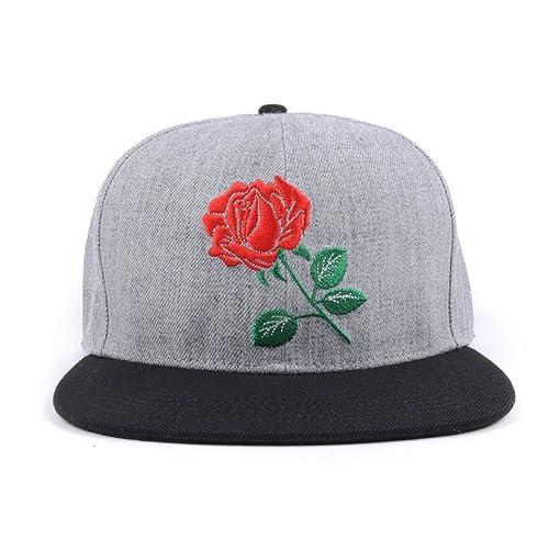9538ddf83cb AUNG CROWN Rose Flat Bill Snapback Hats Embroidered Women Men Adjustable  Baseball Caps