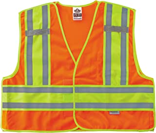 (Large/X-Large, Orange) - Ergodyne GloWear 8245PSV ANSI High Visibility Orange Breakaway Public Safety Vest, Large/X-Large