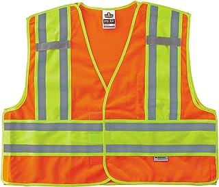 سترة أمان عامة من Ergodyne GloWear 8245PSV ANSI عالية الوضوح باللون البرتقالي المانع للاختناق مقاس 2X-كبير/3X-Large