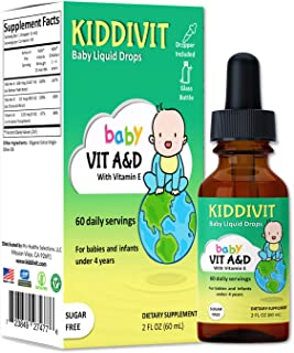 Kiddivit Baby Vitamin A&D Liquid Drops with Vitamin E - 60 Daily Servings, 2 Fl Oz (60 mL) - Dropper Included, Glass Bottl...