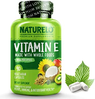 NATURELO Vitamin E - 180 mg (300 IU) of Natural Mixed Tocopherols from Organic Whole Foods - Supplement for Healthy Skin, ...