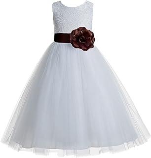 ea7a62ca5a ekidsbridal Floral Lace Heart Cutout White Flower Girl Dresses First  Communion Dress Baptism Dresses 172T