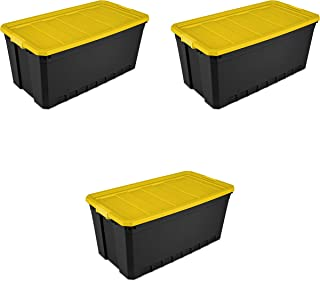 Sterilite, 50 Gal./189 L Stacker Tote, Black - 3 Pack