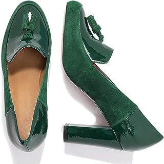 MOOMMO Escarpins à talon haut pour femme - Fermés - Avec franges - 9 cm - Chaussures basses confortables - En daim et cuir...