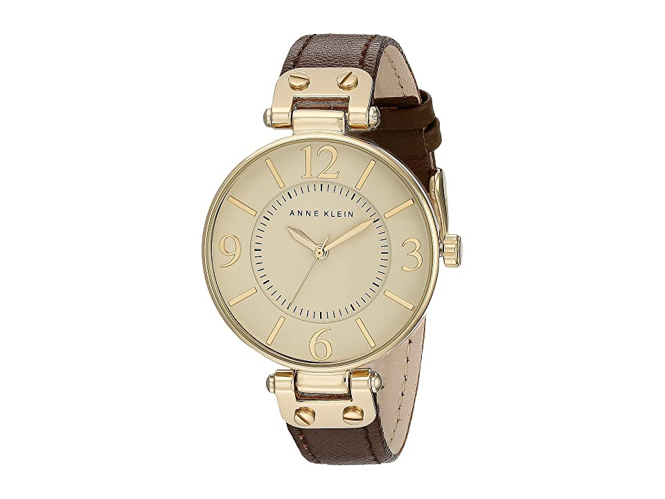 Anne Klein - Anne Klein 109168IVBN Round Dial Leather Strap Watch