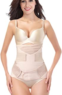 Postpartum Belly Wrap Girdle Band 3 in 1 Post Partum Support Recovery Belly Belt Shapewear, Nude, One size fits waistline ...