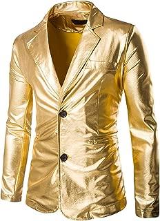 Mens Slim Fit Shiny Metallic Two Button Suit Jacket/Night Club Blazer