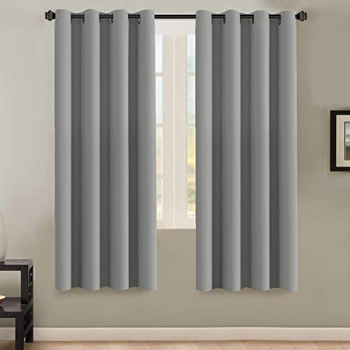HVERSAILTEX Insulated Thermal Blackout 72 Inch Long Grey Curtain Panels Pair