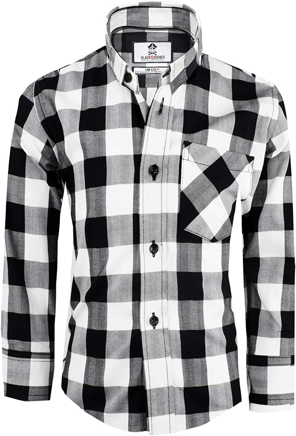 Black n Bianco Boys' Checkered Plaid Button Down Dress Shirts Presented by The Black Ring Pirates