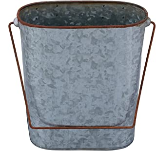 Benjara Farmhouse Style Iron Bucket Design Toilet Paper Holder Wall Rack, Gray