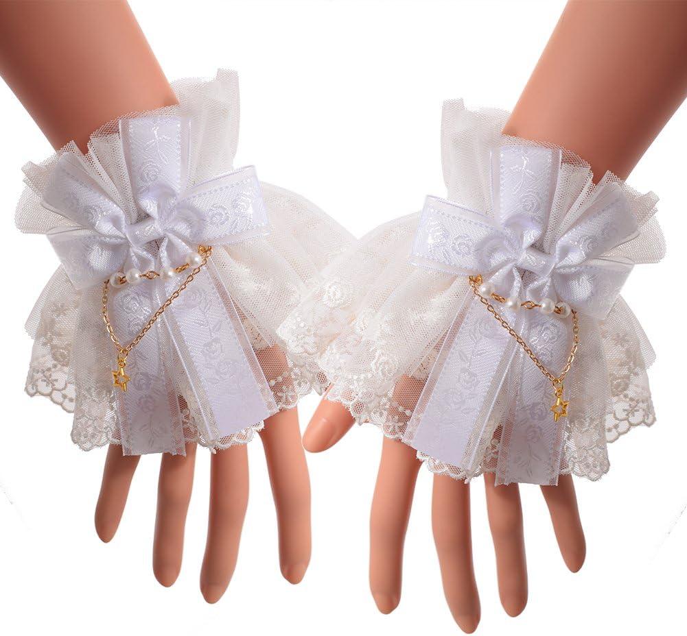 BLESSUME Lolita Lace Cuffs Steampunk Wrist Cuff Bracelet (White 10(1pr))