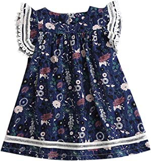 YWLINK Girls' Long Tops Ruffle Short Sleeve Lace Floral Print Comfortable Dress Party Princess Mini Dresses