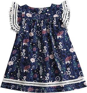 K-youth Bebé Niñas Vestidos de Floral Chicas Vestido para Niña Casual de Sin Manga para 2-8 años Ropa Niña Bebe Vestido de...
