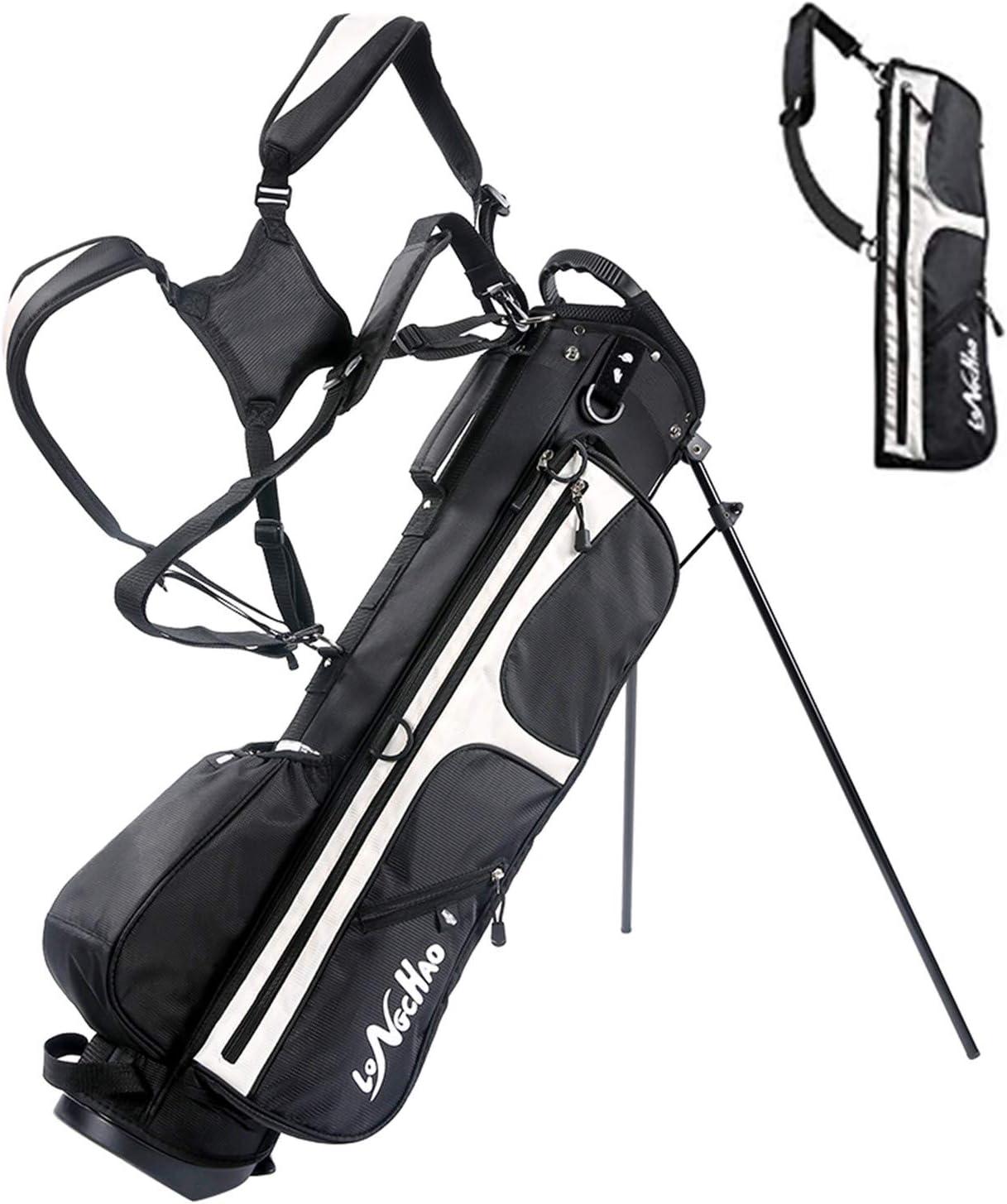 LONGCHAO Golf Bag for Men- Black White Stand Golf Bag