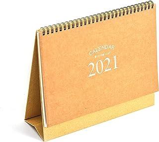 highsong 卓上カレンダー 2020年10月始まり 2021年12月 折り畳み可能 ホワイト シンプル 引き裂き可能 16枚 スケジュールプランノート ステッカー1枚付き