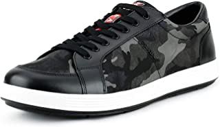 Men's Leather with Camo Nylon Lace-up Sneakers, Smoke (Fume) 4E2939